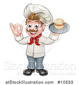 Vector Illustration of a Full Length Happy White Male Chef Baker Gesturing Ok and Holding a Cupcake on a Tray by AtStockIllustration