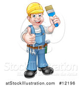 Vector Illustration of a Full Length Male Handy Man Holding a Paintbrush and Giving a Thumb up by AtStockIllustration