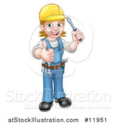Vector Illustration of a Full Length White Female Electrician Holding a Screwdriver and Giving a Thumb up by AtStockIllustration