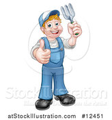 Vector Illustration of a Full Length White Male Gardener Holding a Garden Fork and Giving a Thumb up by AtStockIllustration