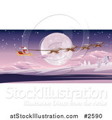 Vector Illustration of a Full Moon and Santas Sleigh by AtStockIllustration