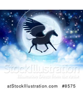 Vector Illustration of a Full Moon and Silhouetted Flying Pegasus by AtStockIllustration