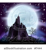 Vector Illustration of a Full Moon Behind a Halloween Haunted Castle with Bare Trees and Purple Tones by AtStockIllustration