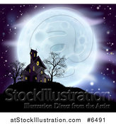 Vector Illustration of a Full Moon Behind a Haunted House and Bare Trees on a Hill by AtStockIllustration