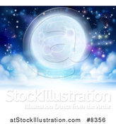 Vector Illustration of a Full Moon Glowing in a Night Sky over a Layer of Clouds by AtStockIllustration