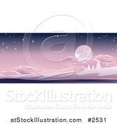 Vector Illustration of a Full Moon in a Purple Sky over a Winter Hilly Landscape by AtStockIllustration