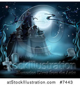 Vector Illustration of a Full Moon over a Haunted Castle and Cemetery with Dead Trees in Blue Tones by AtStockIllustration
