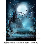 Vector Illustration of a Full Moon over a Haunted Halloween Castle and Cemetery with Dead Trees in Blue Tones by AtStockIllustration