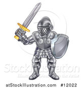 Vector Illustration of a Fully Armored Knight Holding a Sword and Shield by AtStockIllustration
