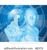 Vector Illustration of a Futuristic Blue Person Pushing a Globe Button by AtStockIllustration
