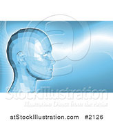 Vector Illustration of a Futuristic Blue Virtual Face in Profile by AtStockIllustration