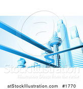Vector Illustration of a Futuristic City Skyline with Skyscrapers and Floating Roads in Blue Tones by AtStockIllustration