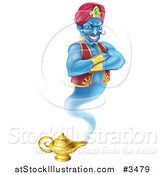 Vector Illustration of a Genie Emerging from His Lamp by AtStockIllustration