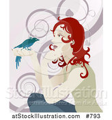 Vector Illustration of a Gentle Redhead Woman Holding a Bird in Her Hand by AtStockIllustration