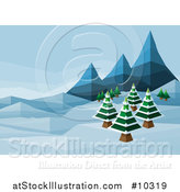 Vector Illustration of a Geometric Polygon Styled Winter Landscape with Mountains and Evergreen Trees by AtStockIllustration