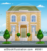 Vector Illustration of a Georgian or Victorian House with Topiary Plants by AtStockIllustration
