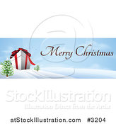 Vector Illustration of a Giant 3d Gift Box in a Winter Landscape with Merry Christmas Text by AtStockIllustration