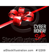 Vector Illustration of a Gift Bow with Cyber Monday Sale Text on Black by AtStockIllustration
