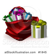 Vector Illustration of a Gift Box Beside a Red Santa Sack by AtStockIllustration