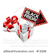 Vector Illustration of a Gift Box with a Black Friday Sale Sign by AtStockIllustration
