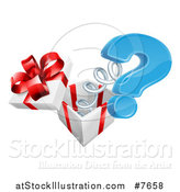 Vector Illustration of a Gift Box with a Springy Question Mark by AtStockIllustration