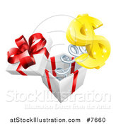 Vector Illustration of a Gift Box with a Springy Usd Currency Symbol by AtStockIllustration