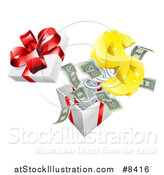 Vector Illustration of a Gift Box with a USD Symbol and Cash Money Springing out by AtStockIllustration