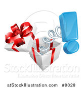 Vector Illustration of a Gift Box with an Exclamation Point Popping out on a Spring by AtStockIllustration