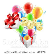 Vector Illustration of a Gift on a Spring, with Party Balloons by AtStockIllustration