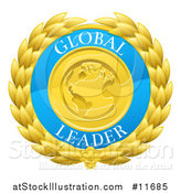 Vector Illustration of a Global Leader Earth and Laurel Wreath Medal by AtStockIllustration
