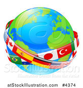 Vector Illustration of a Globe Earth with National Flag Banners by AtStockIllustration