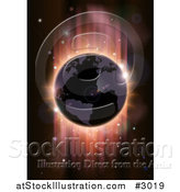 Vector Illustration of a Globe in Shadow with Red Lights from an Eclipse by AtStockIllustration