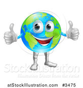 Vector Illustration of a Globe Mascot Holding Two Thumbs up by AtStockIllustration