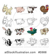 Vector Illustration of a Goat Pig Sheep Turkey Rabbit Cow Rooster and Ram in Color and Black and White by AtStockIllustration