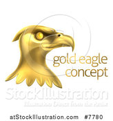 Vector Illustration of a Gold Bald Eagle Head with Sample Text by AtStockIllustration