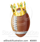 Vector Illustration of a Gold Crown on an American Football by AtStockIllustration