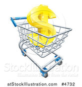 Vector Illustration of a Gold Dollar Symbol in a Shopping Cart by AtStockIllustration
