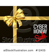 Vector Illustration of a Gold Gift Bow with Cyber Monday Sale Text on Black by AtStockIllustration