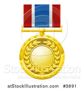 Vector Illustration of a Gold Golf Ball Medal on a Ribbon by AtStockIllustration