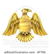 Vector Illustration of a Gold Heraldic Coat of Arms Eagle with a Shield by AtStockIllustration
