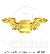 Vector Illustration of a Gold Heraldic Winged Shield with a Blank Banner Ribbon by AtStockIllustration