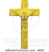 Vector Illustration of a Gold Jesus Nailed to the Cross by AtStockIllustration