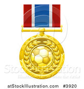 Vector Illustration of a Gold Soccer Ball Medal on a Ribbon by AtStockIllustration