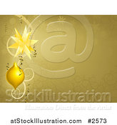 Vector Illustration of a Gold Swirl and Snowflake Christmas Background with Baubles by AtStockIllustration