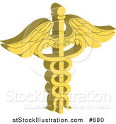 Vector Illustration of a Golden Caduceus with Double Helix Snakes by AtStockIllustration