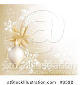 Vector Illustration of a Golden Christmas Bauble and Snowflake Background with Copyspace by AtStockIllustration