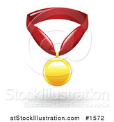 Vector Illustration of a Golden First Place Medal on a Red Ribbon by AtStockIllustration