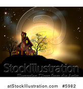 Vector Illustration of a Golden Full Moon Behind a Haunted House on a Hill by AtStockIllustration