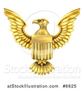 Vector Illustration of a Golden Heraldic American Coat of Arms Eagle with a Shield by AtStockIllustration
