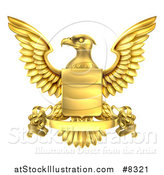 Vector Illustration of a Golden Heraldic Coat of Arms Eagle with a Shield and Banner Scroll by AtStockIllustration